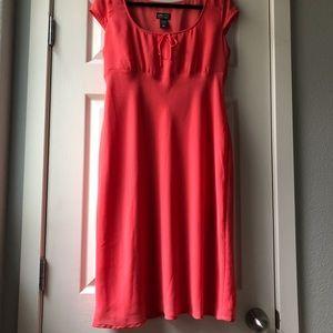 Classy coral cap sleeve dress